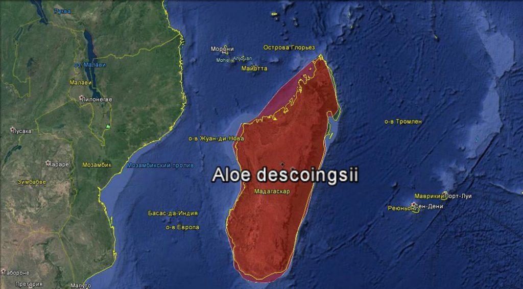 Ареал распространения Aloe descoingsii в дикой природе